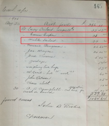 1905 Lucy and Mabel Seibert in the Manager's Cashbooks; Source: Region of Waterloo Archives