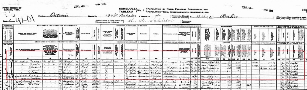 1911 Canada Census; Source: ancestry.ca
