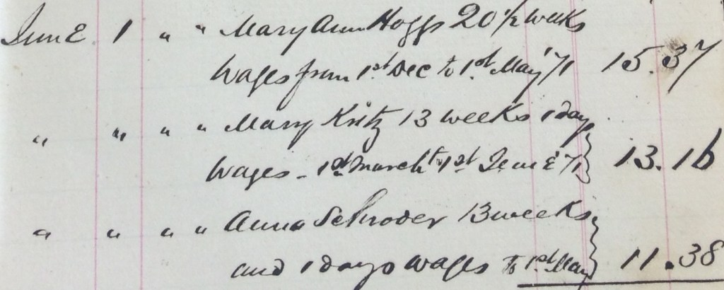Anna Schroeder in Keeper's Cash Accounts; Source: Region of Waterloo Archives