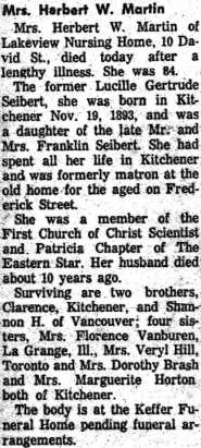Lucy's Obituary; Source: ancestry.ca