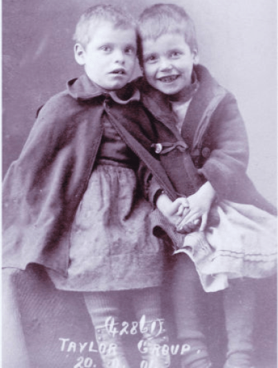 Mary Elizabeth Taylor and Sarah Jane Taylor (1901). The sisters did not stay in the House but their story of poverty, abuse and separation is similar to children at the House. Source: British Home Children Advocacy & Research Association and Barnardo Archives