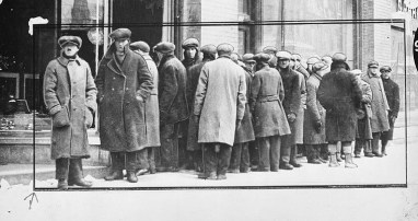 Title: Popular soup kitchen for the poor- line outside the building; Source: Bibliothèque et Archives Canada / PA-168133