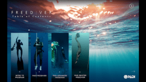 PADI Freediver Touch Menu