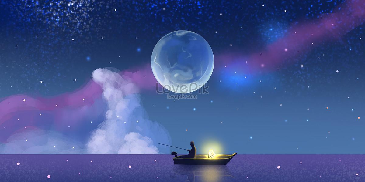 星空釣魚場景插畫圖片素材-PSD圖片尺寸4000 × 2000px-高清圖片400063143-zh.lovepik.com