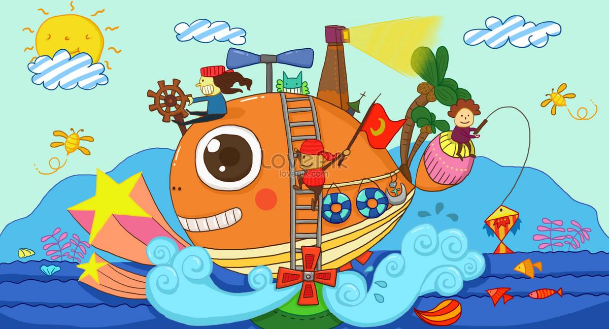 兒童插畫之海洋樂園圖片素材-PSD圖片尺寸2000 × 1080px-高清圖片400114980-zh.lovepik.com