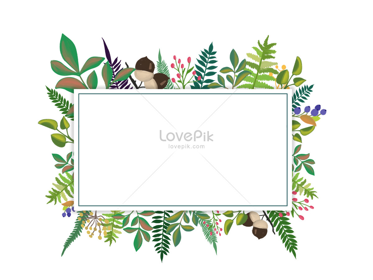 bingkai dekoratif daun lukisan tangan gambar unduh gratis