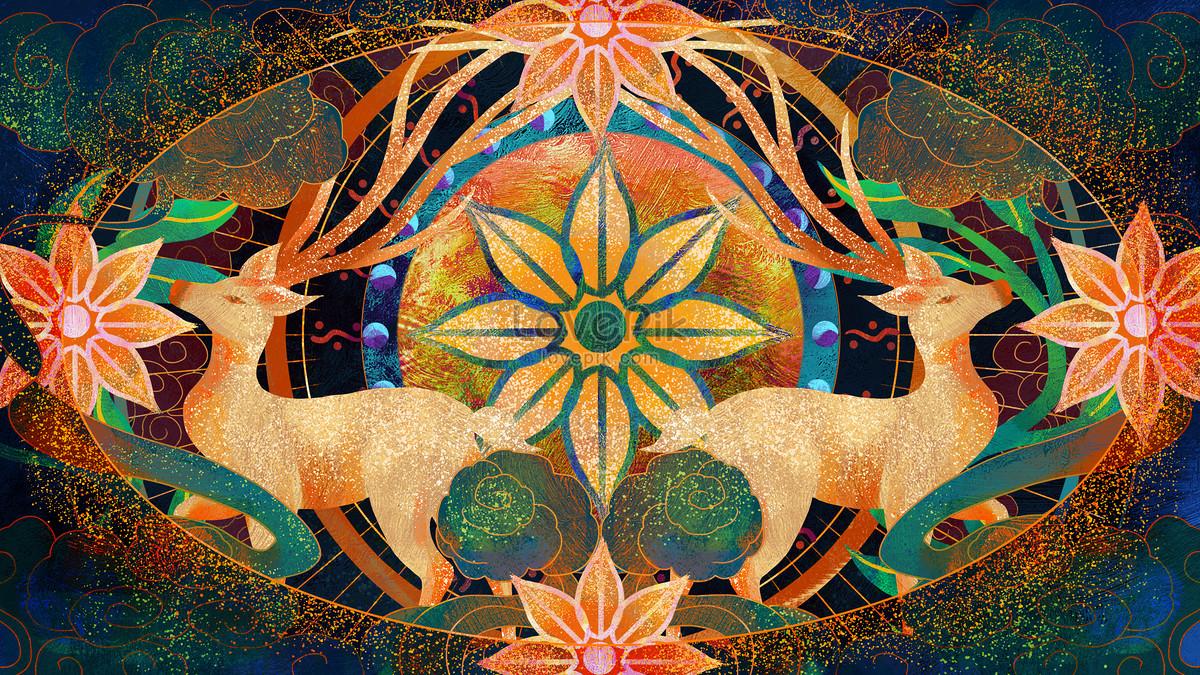 中國風圖騰雙鹿壁畫圖片素材-PSD圖片尺寸2880 × 1620px-高清圖片401758281-zh.lovepik.com