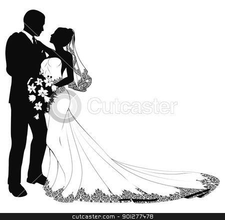 Bride and groom silhouette stock vector