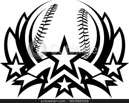 Baseball Vector Graphic Template with Stars stock vector