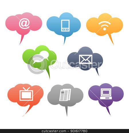 colored communication symbols stock