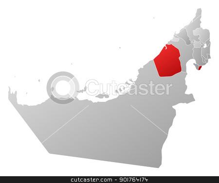 Map of the United Arab Emirates Dubai highlighted stock