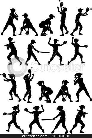 Baseball or Softball Silhouettes Kids Boys and Girls stock