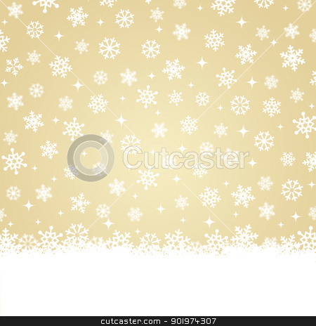 Christmas Card Snow On Gold Background Stock Vector