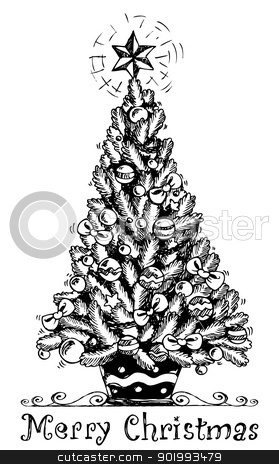Christmas Tree Stylized Drawing 1 Stock Vector