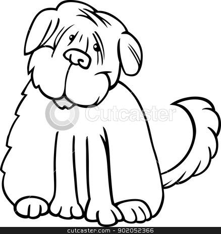shaggy terrier cartoon for coloring stock vector