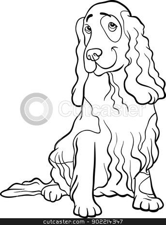 cocker spaniel dog cartoon for coloring book stock vector