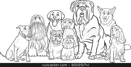 purebred dogs group cartoon for coloring stock vector