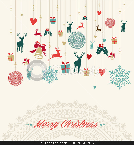 Merry Christmas Vintage Greeting Card Stock Vector