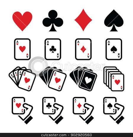 Playing cards, poker, gambling icons set stock vector