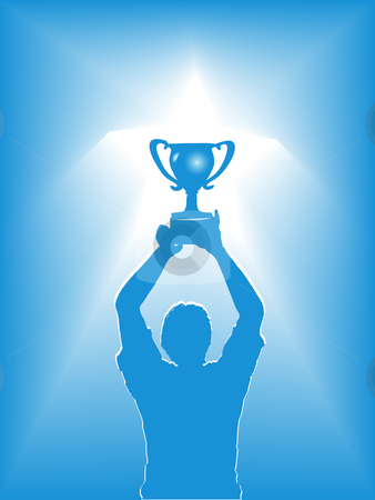 Victory Star Trophy Silhouette stock vector