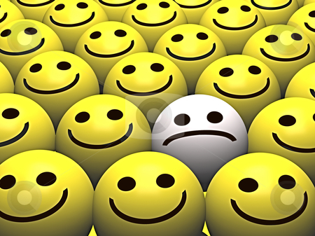 Happy faces surrounding Sad smiley stock photo, A sad smiley stands out from the crowd of happy smileys by Norma Cornes