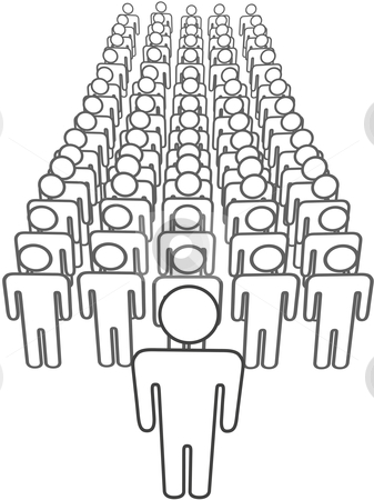 Leader stands in front of group scene from above stock vector