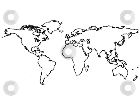 Black world map outlines isolated on white stock vector