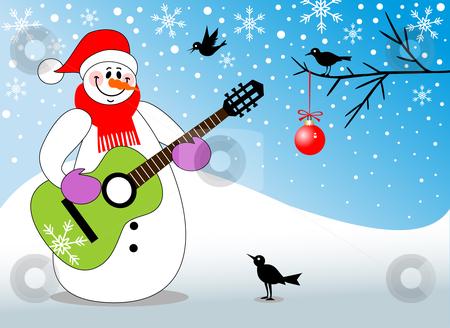 Snowman Playing Guitar Stock Vector