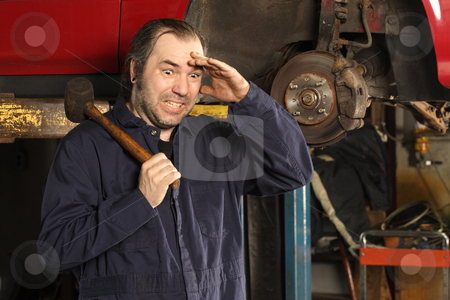 Fuse Box Templates Online Crazy Mechanic Confused Stock Photo