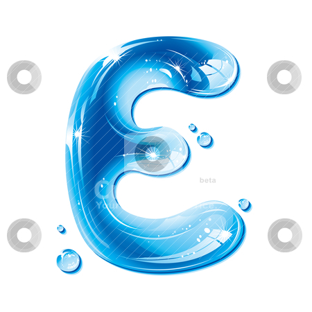 ABC Series Water Liquid Letter Capital E Stock Vector