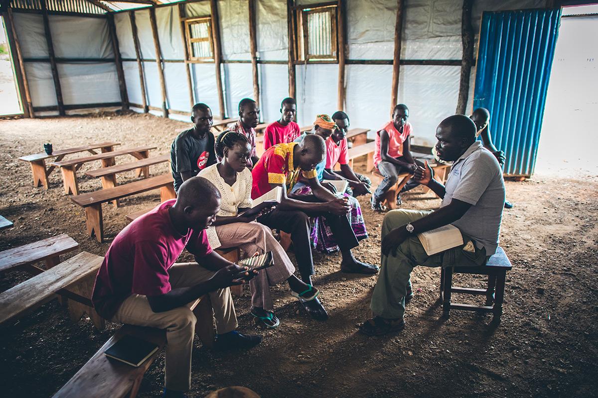Bible study at Bidi Bidi Refugee Settlement in Northern Uganda
