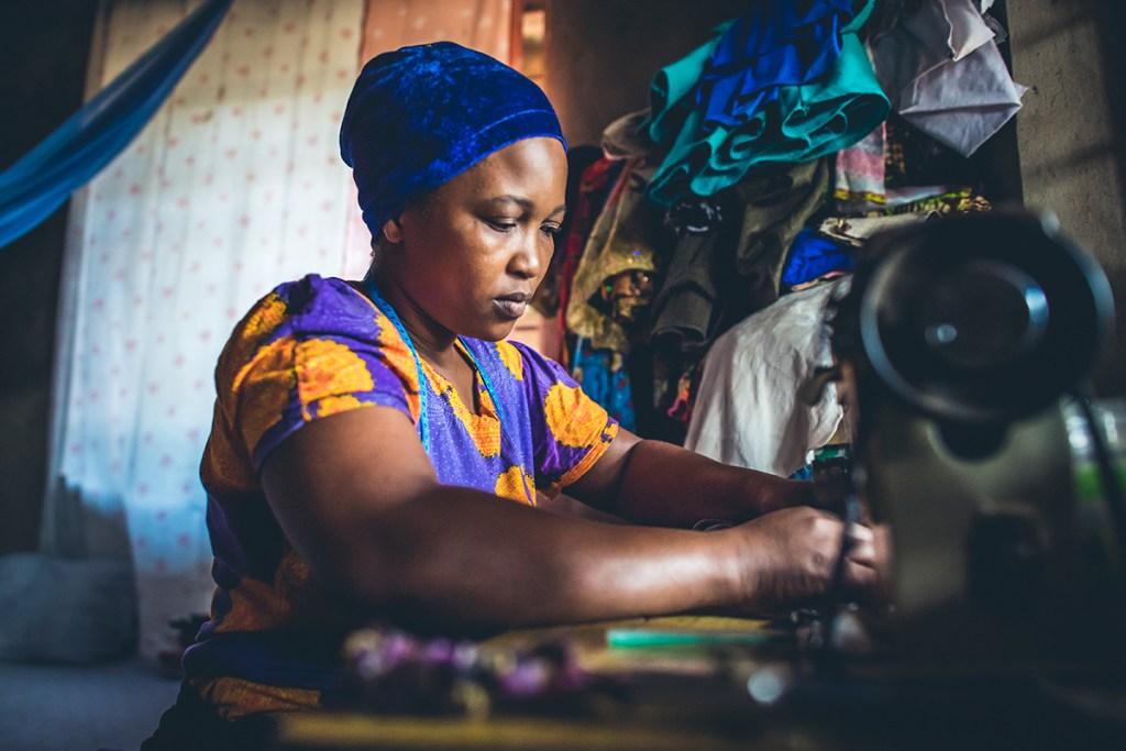 Rachel sewing