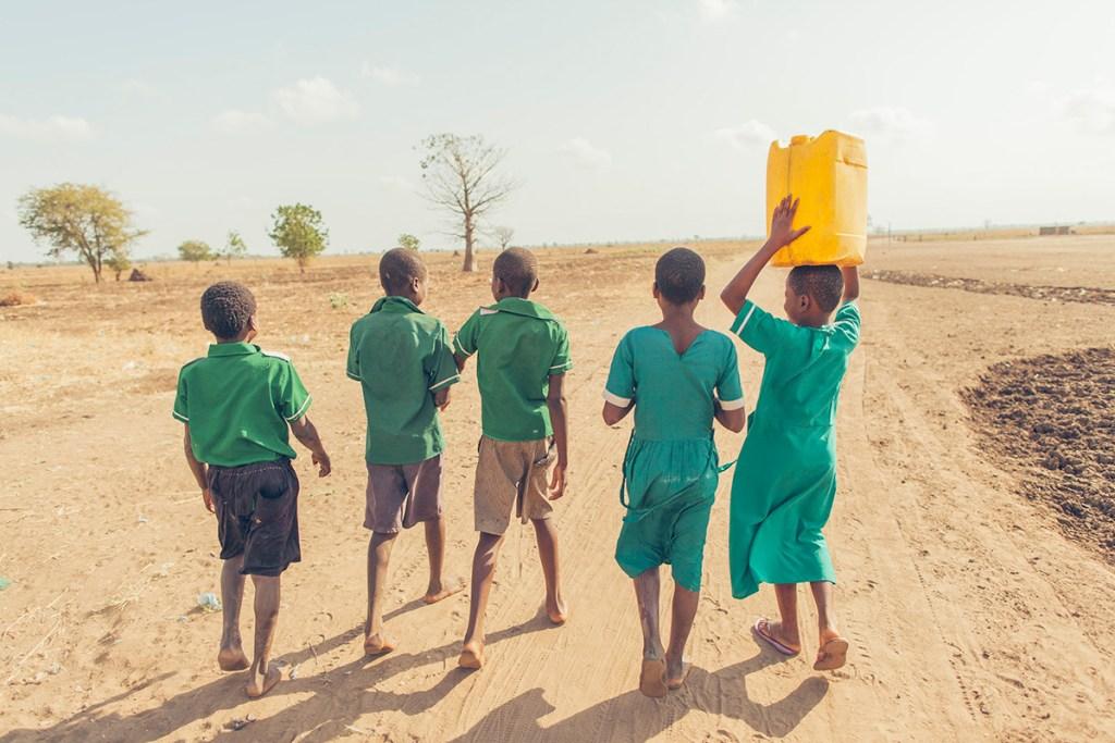 Students walking to school in Malawi