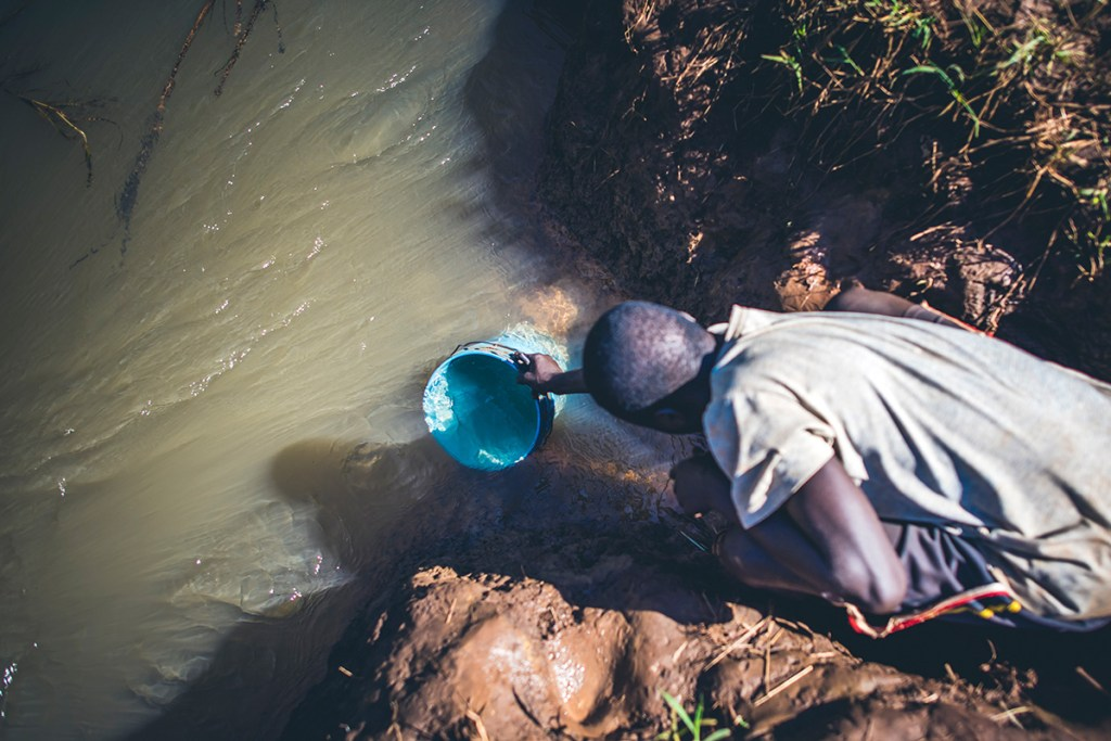A dirty water source in Tanzania that can breed mosquitoes