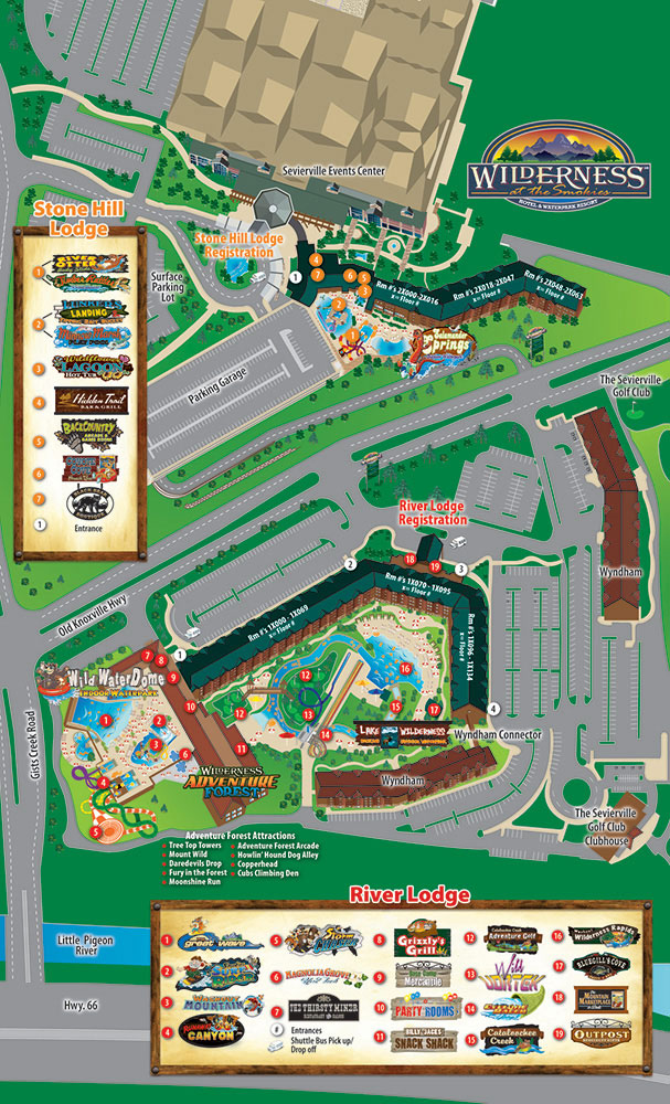 Tanger Outlet Pigeon Forge Map : tanger, outlet, pigeon, forge, Wilderness, Smokies, Water, Hotel, Pigeon, Forge