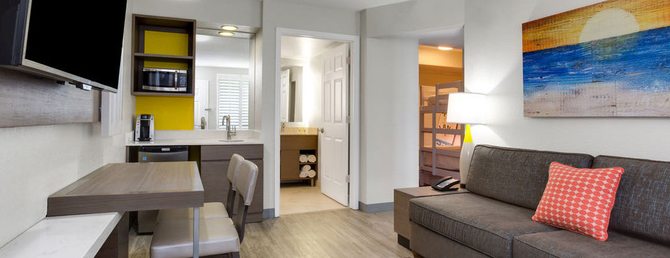 View of a 2 Bedroom King Suite with Kitchenette at the Holiday Inn Resort Orlando Waterpark wide