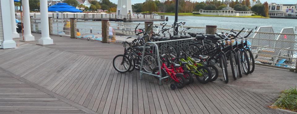 Bikes on the Pier at the Disney Beach Club Resort in Orlando Fl wide