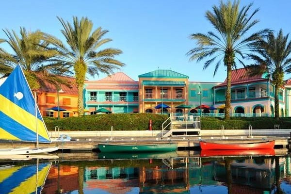 View of Boats on the Lake on the edge of the Disney Caribbean Beach Resort 600