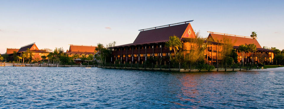Disney Polynesian Deluxe Resort view from the water wide
