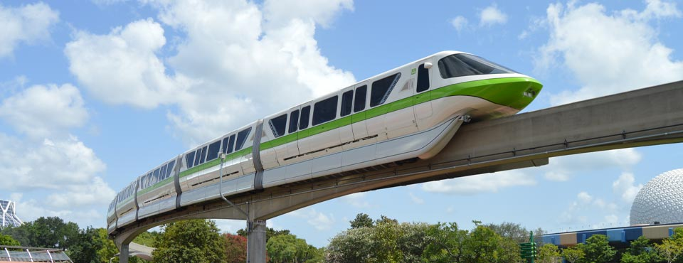 View of the Monorail Green making its way through Epcot Disney World Orlando 960