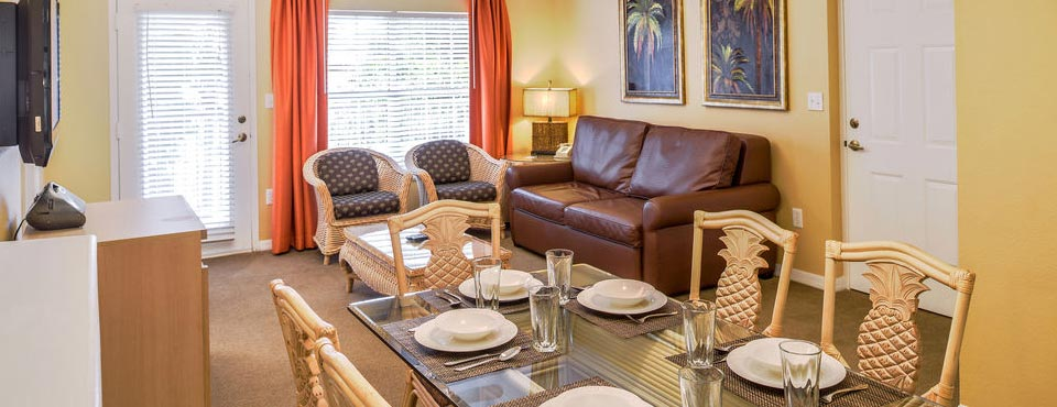 View of a living room in a Two Bedroom Condo at the Liki Tiki Village near Orlando 960
