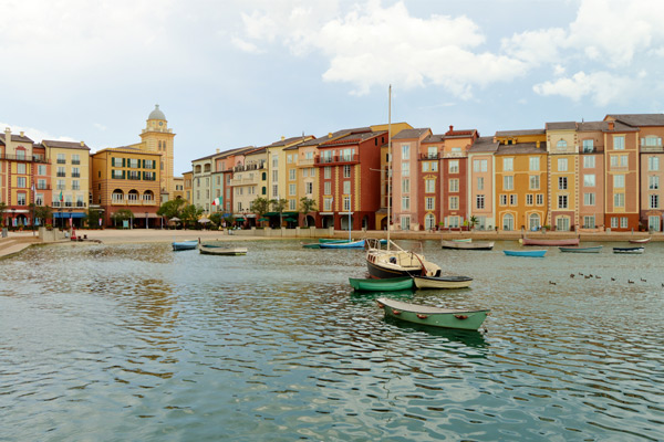 View of the Italian Harbor with sailboats at the Loews Portofino Bay Resort Universal Orlando 600