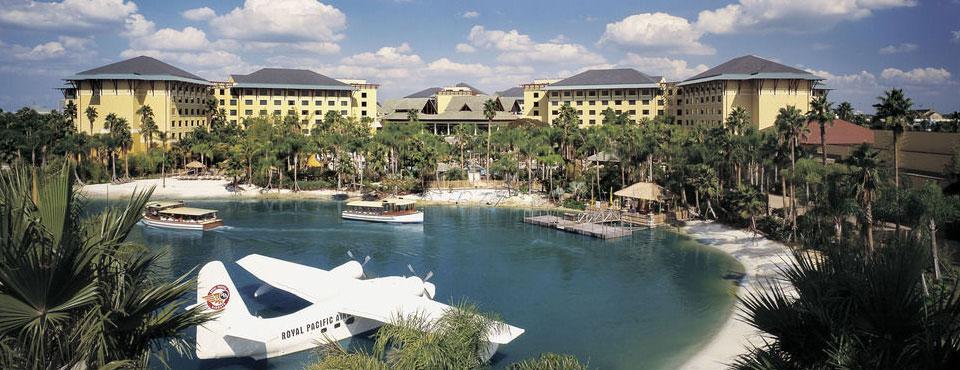 Loews Royal Pacific Resort at Universal Orlando overlooking lake and beach area