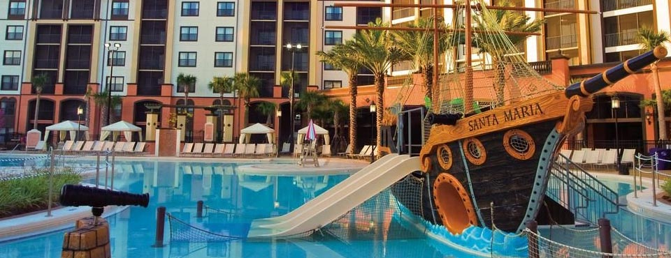 Sheraton Vistana Villages view of the pool and Pirate Ship kids play area with water slides 960