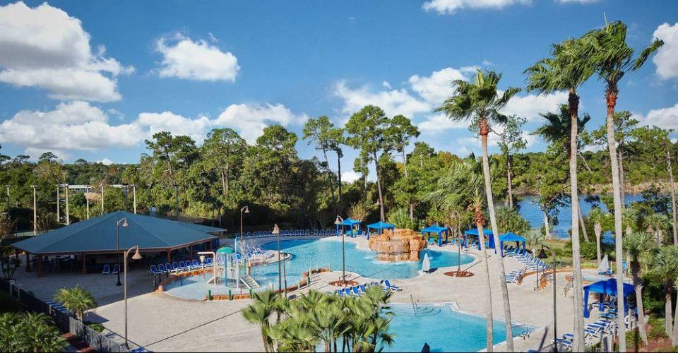 Pool area with pavilion Wyndham Garden Lake Buena Vista