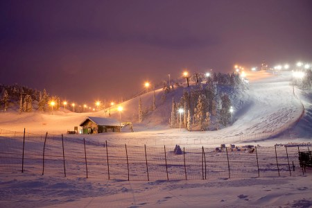 lluminated slopes, Ruka, Lapland, Finland