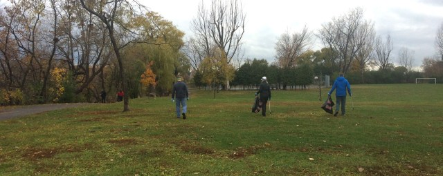 We all went around together, sweeping the park fields, including the river-front and the little bits of forest.