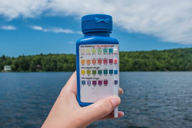 The taylor test strip bottled and reference chart, used to measure alkalinity in freshwater by comparing colour change.