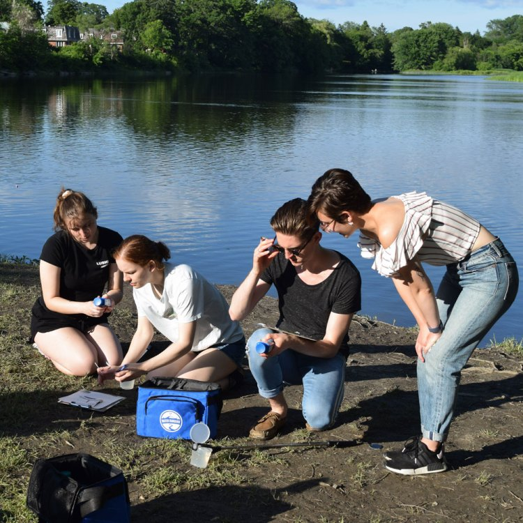 A group of water testers taking a water quality measurement, including water temperature. They are using a Water Rangers testkit