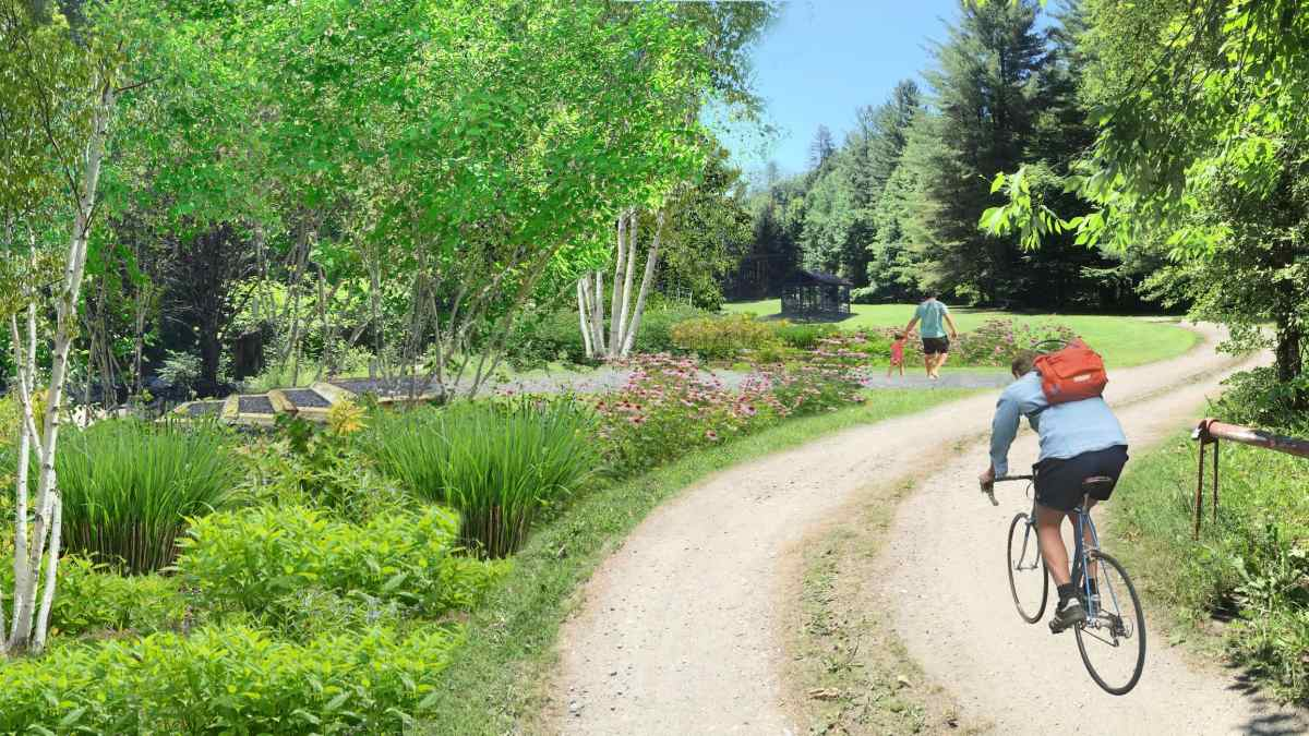 Mock-up park restoration design with trees and trail